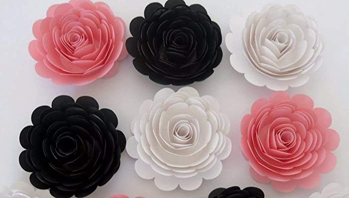 Amazon Com 6 Pink Black And White Roses Large 3 Paper Flowers