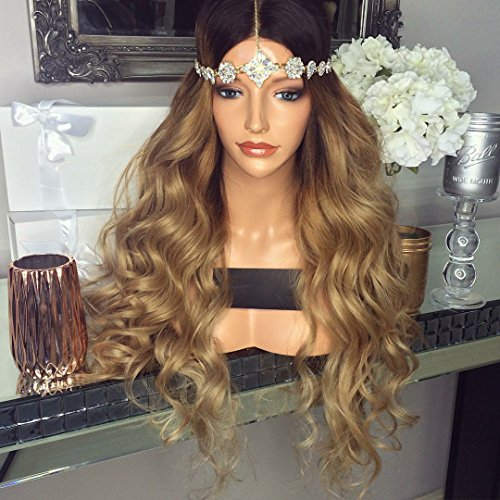 Indian Hair Wigs (Alice Hair 1B 27 Ombre Blonde Lace Front Human Hair Wig With Baby Hair Body Wave Indian Virign Human Hair Wigs For Women Pre Plucked Ombre Wavy Wig Bleached Knots (24 Inch 130%Density, Lace Front Wig))