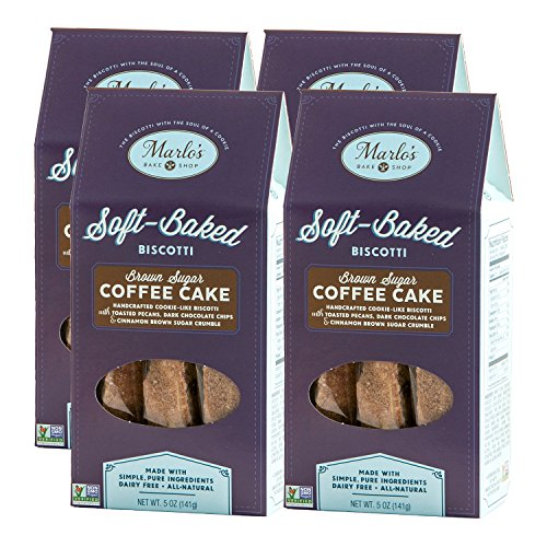 Cinnamon Sugar Biscotti (Marlo's Bakeshop Pecan Coffee Cake Soft-Baked Biscotti, Brown Sugar, Gourmet, Non-GMO, Wholesome Indulgence (4 Pack))
