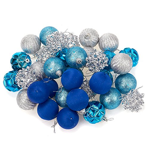 (Juvale 35-Pack Christmas Tree Decorations - Glittery Hanging Xmas Ornaments in 5 Assorted Designs - Perfect Festive DecorEmbellishments for Hanging, Blue,)