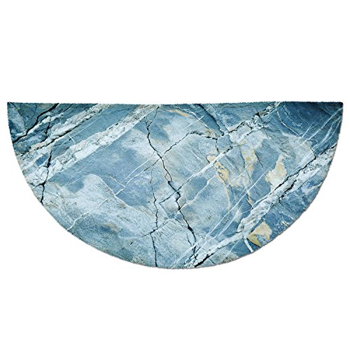 Stone Top Marble Round (Half Round Door Mat Entrance Rug Floor Mats,Marble,Exquisite Granite Stone Architecture Floor Artistic Nature Faded Rock Picture Decorative,Light Blue Grey,Garage Entry Carpet Decor for House Patio Gr)