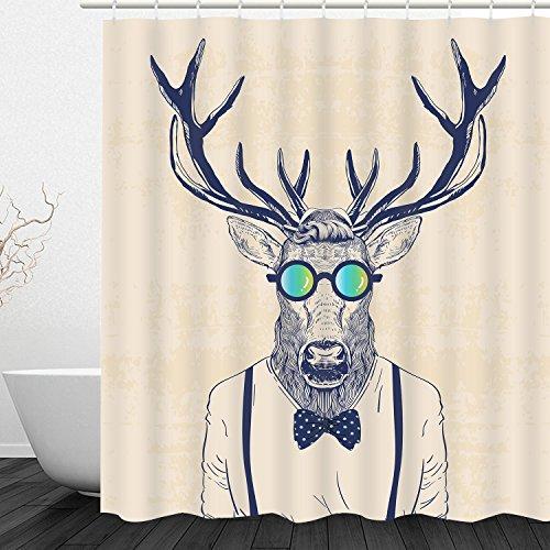 Sunmner Bathroom Shower Curtain Fun Dressed Deer Shower Curtains with 12 Hooks, Antlers Shower Curtains Durable Waterproof Fabric Bath Curtain Sets -