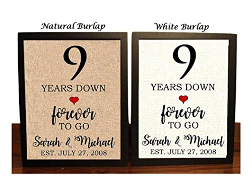 9th Anniversary Burlap Gift | 9th Wedding Anniversary Gift | Gift for 9th Anniversary | 9 Years Down Forever to Go | 9 Years of Marriage
