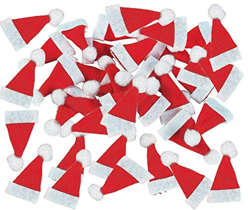 "Bulk Pack of Mini 48 Christmas Santa Party Hats Doll Crafts, Small 3/4"" x 1 3/4"" Xmas Arts and Crafts, Cotton, By 4E's -"