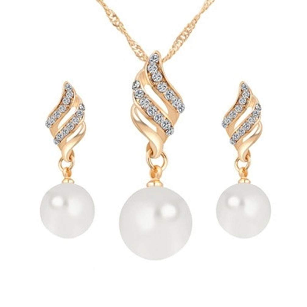 Ogquaton Pendientes de perlas de collar de perlas simuladas de calidad superior Conjunto de joyas en espiral simple para mujeres, niñ a niña