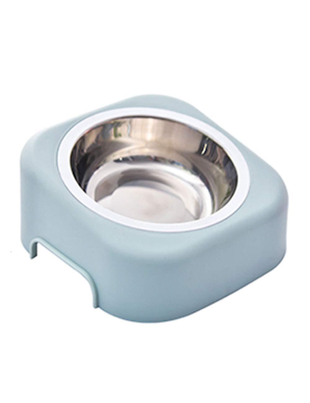 MGMDIAN Recipiente Oblicuo de Gato de Acero Inoxidable Cuenco de Gato Anti volcado Cuenco Individual Comedero para Mascotas ( Color : Azul )