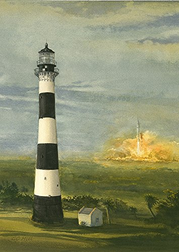 Cape Canaveral Lighthouse Florida & Rocket Launch Matted Watercolor Art Prints (5x7) ()