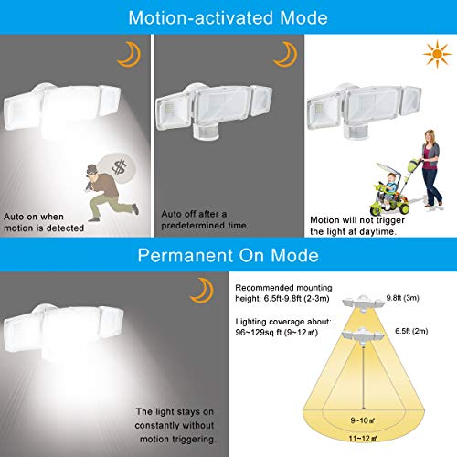 LED Solar Motion Sensor Flood Light, Motion Activated Outdoor Security Light with 2 Adjustable Heads, 1500LM 6000K Daylight White Exterior Motion Detector Light Fixture for Patio Driveway Yard Garage by SOLLA (Image #5)
