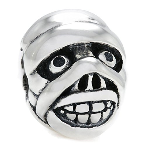 BELLA FASCINI Walking Dead Mummy Head Monster Bead Charm - 925 Sterling Silver - Fits European Bracelets