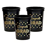Gold and Black Graduation 16 Oz Party Cups (100)
