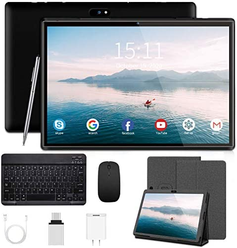10 Inch Tablet with Keyboard Android 9.0 Pie Tablets, 3GB RAM 32GB ROM/128GB Expand 8000mAh 8MP Camera 4G/WiFi/Bluetooth/GPS, Google GMS Certified Tablet PC(Black)