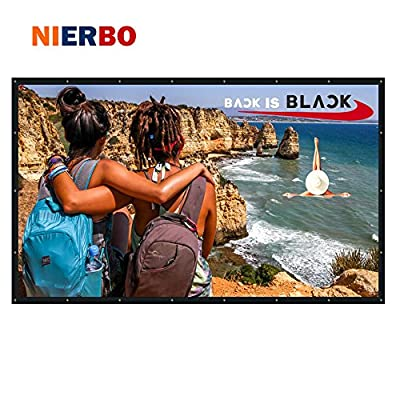 NIERBO 120 Inch 16:9 Collapsible PVC HD Portable Home and Outdoor Projector Screen Movies Screen for Front Projection