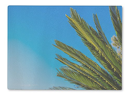 Gear New Glass Cutting Board and Serving Dish, Palm Trees At Santa Monica Beach In The Blue Sunny Sky, For Kitchen and Dining, 15x11, - Santa Beach Is Clean Monica
