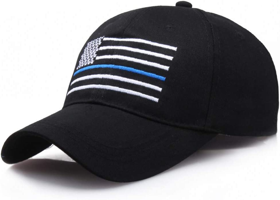 XIAOMAOMAO American Flag Thin Blue Line Flag Low Profile Tactical Hats for Police Law Enforcement Back The Blue Embroider Cap