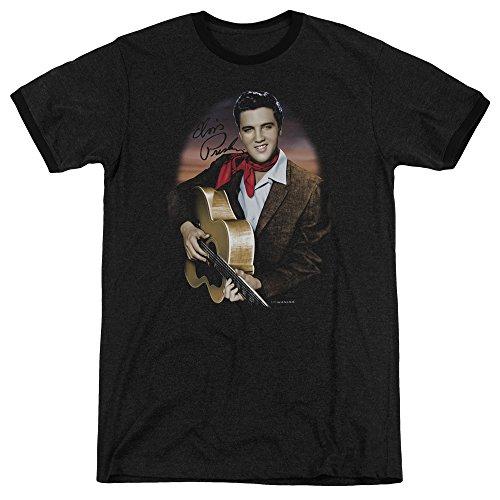 Elvis Presley Red Scarf #2 Mens Adult Heather Ringer Shirt Black Xl (Elvis Scarves)