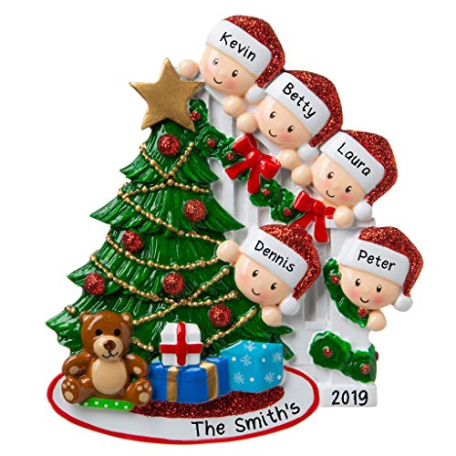 Hobby Home Accessories Personalized Happy Family Bannister Peeking Family Christmas Tree Ornament Present Gift Christmas Morning-Free Personalized (Family of 5) (Christmas Accessories Home)