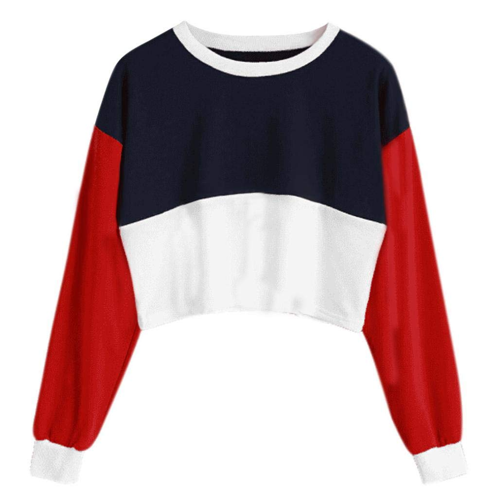 ZTY66 Women's Crop Top Sweatshirt Long Sleeve Color Block Pullover Tops Casual Jumper T Shirt Blouses (M, Red)