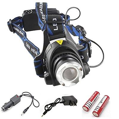 Heart-stirring Modern 3 Mode LED 2000Lm Headlamp Headlight Flashlight Nightlight Color Black with Battery Car Charger