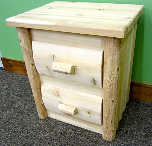 Midwest Log Furniture – Premium Log Nightstand – 2 Drawer