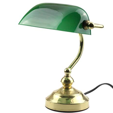 Rudy bankers desk lamp 15h green glass shade with brushed gold rudy bankers desk lamp 15quoth green glass shade with brushed gold finish brass aloadofball Image collections