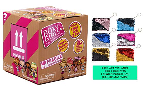 Ropeastar Boxy Girl Mini Doll Sequin Bag Set, Fashion Doll Toys Girls, Surprise Accessories Doll Set, Unique Ideas Kids, Holiday Birthday Gifts Children (Boxy Girls Mini Crate)