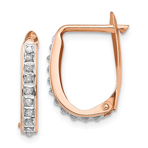 Mia Diamonds 14K Rose Gold (.01cttw) Rose Gold Diamond Fascination Oval Leverback Hinged Hoop Earrings (17mm x 11mm)