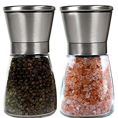 Inspero Trading Salt and Pepper Grinder Set-Premium Salt and Pepper Shakers Maintain Spice Freshness-Adjustable Coarseness Pepper Grinder-Spice Grinder-Easy to Fill Salt and Pepper Mill set