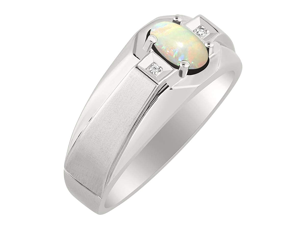 RYLOS Mens Ring with Oval Shape Gemstone /& Genuine Sparkling Diamonds in Sterling Silver .925 With Satin Finish 7X5MM Color Stone