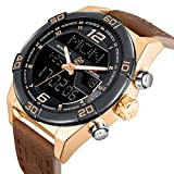 Analog Digital LED Dual Time Display Brown Genuine Leather Band Alloy Electroplating Gold Watchcase Mens Watches