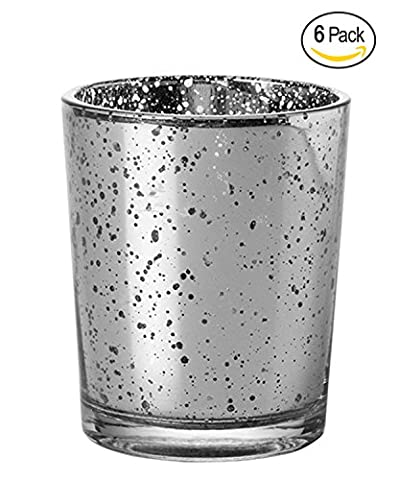 Candle Holder Glass Votive for Wedding, Birthday, Holiday & Home Decoration by Royal Imports, Speckled Mercury Silver, Set of 6 - unfilled