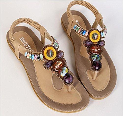 Scarpe YCMDM delle donne di modo 2017 nuovo rilievo femmina sandali della Boemia della spiaggia scarpe piane , apricot , 36