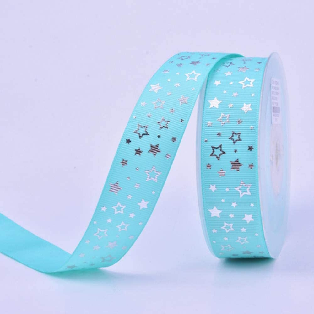 LAGEDOUDING 100Yd 25mm Silver Stars Ribbon Tejido Hecho a Mano ...