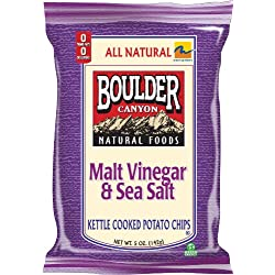 Boulder Canyon Kettle Chips, Malt Vinegar & Sea Salt, 5-Ounce Bags (Pack of 12)