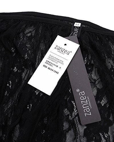 ZANZEA Mujeres Damas Casual Encaje Transparente Blusa Camiseta Escote Redondo Mangas 3/4 Abiertas negro