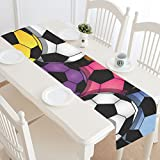 InterestPrint Fantasy Design Color Soccer Cotton Linen Cloth Long Table Runner for Office Kitchen Dining Wedding Party Home Decor 16 X 72 Inches
