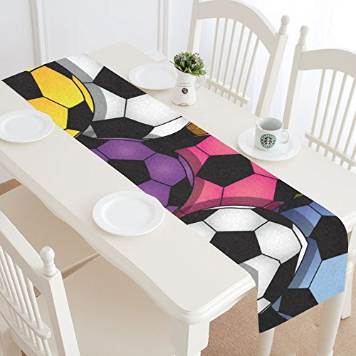 InterestPrint Fantasy Design Color Soccer Cotton Linen Cloth Long Table Runner for Office Kitchen Dining Wedding Party Home Decor 16 X 72 Inches by InterestPrint