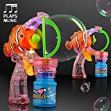 Clown Fish Light Up Bubble Gun with Cute Music (Set of 18)