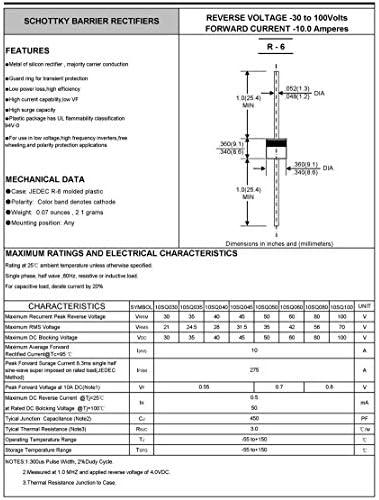 10Pcs 15a 45v High Efficiency Axial Rectifier Bypass Blocking Diode/_mahaHADI