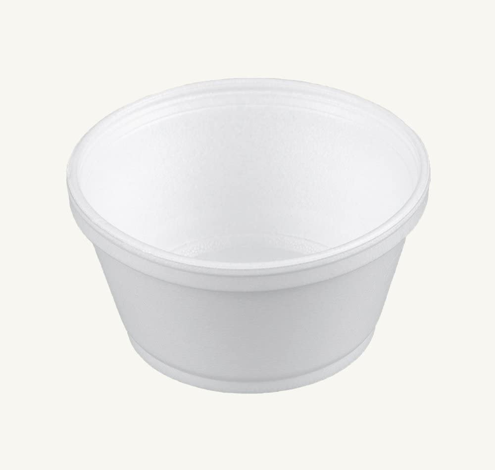 Dart 8SJ20, 8-Ounce Customizable White Foam Cold And Hot Food Container with Translucent Vented Lid, Dessert Ice-Cream Yogurt Cups, Deli Food Containers with Matching Covers (100)