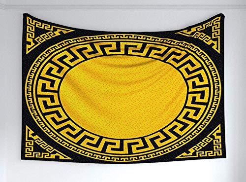 - YouXianHome Greek Key Tapestry Kids, Sun Inspired Big Circle with Antique Fret and Triangular Ornaments, Tapestry Clips for Hanging, 90 W x 60 L Inches, Charcoal Grey Marigold