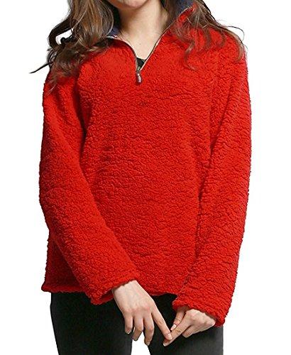 Red Fleece Pullover Jacket - 6