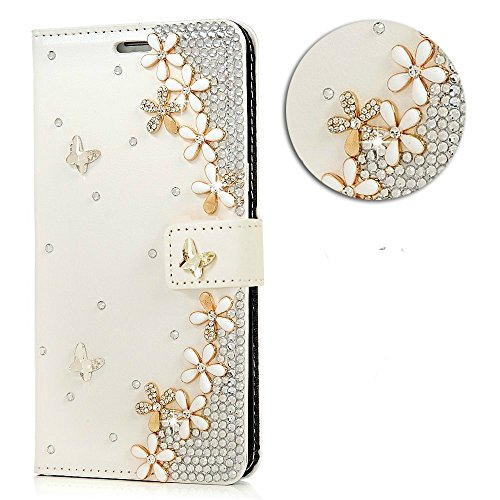 S8 + Case,Samsung Galaxy S8 Plus Case – 3D Handmade Wallet Bling Crystal Diamonds Ten Camellia Floral Fashion Embossed PU Leather Cover with Magnetic …
