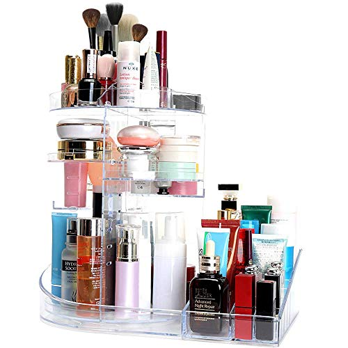 SUNFICON Large Makeup Organizer 360 Degree Rotating Cosmetic Holder Storage Box Display Stand Case Multifunctional Adjustable Trays Fits All Size Beauty Skincare Products Jewellery Washable Acrylic Cl from SUNFICON