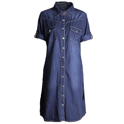 FuweiEncore Vestido Denim de Manga Corta con botón Abotonado y Siete Mangas de Mezclilla para Mujer