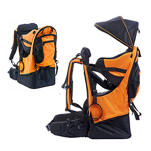 TeckCool_Store Baby Carrier, TECKCOOL Baby Toddler Hiking Backpack Carrier w/Rain cover Child Kid Sun/canopy Shield A+, Holds up to 50 Pound Ideal for Children Between 6 months-4years old (orange) ()