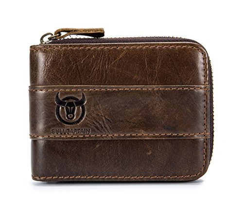 BULLCAPTAIN Genuine Leather Mens Wallet Bifold Vintage Men Wallets Credit Cards Holder (Brown)