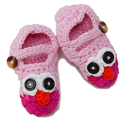 [Newborn Infant Baby Boy Girl Crocheted Knit Owl Slippers Booties Shoes Socks (Pink on Pink, 0-3] (Princess Tiny Feet Costume)