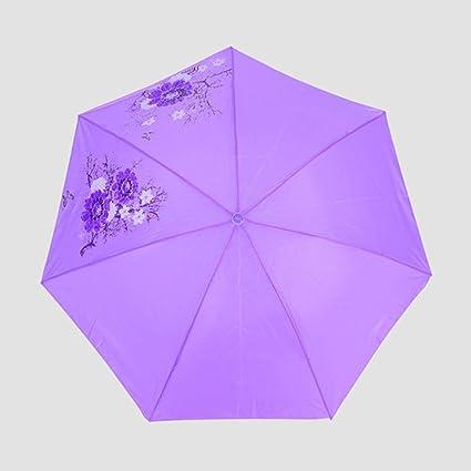 BiuTeFang Paraguas Acero inoxidable paragüero paraguas paraguas paraguas plegable de color sólido 65x114cm
