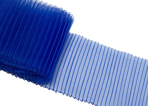 Pleated Crinoline Horsehair Braid for Millinery 6 Wide - Blue - Sold by The Yard