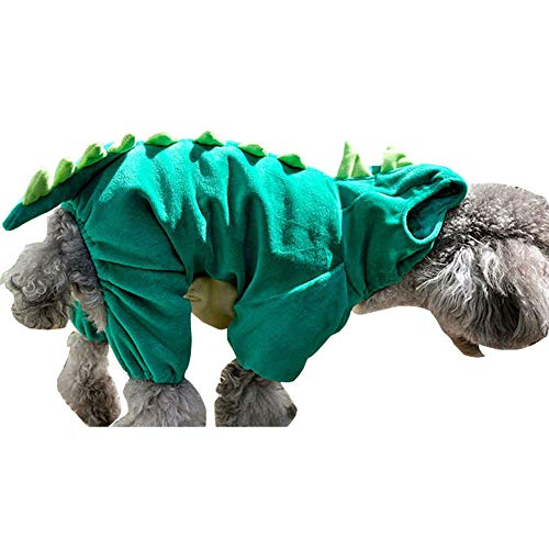 Pet Dinosaur Costume with Hood for Small Dogs & Cats Outfit Winter Coat Warm Jacket (Medium)